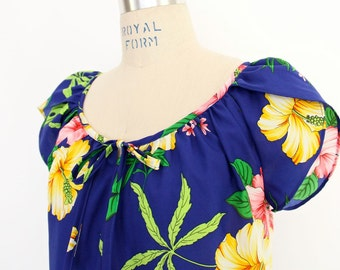 Hawaiian Maxi Dress, Boho Hippie Floral Print MuuMuu Hilo Hatties Hawaii exotic tropical Hibiscus beach cover cobalt blue pongee silk gown