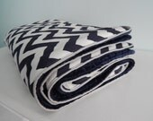 Deluxe Crib Blanket in Navy Chevron with Navy Minky and Grey Piping - Choose your colors