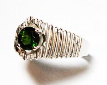 "Chrome diopside, chrome diopside ring, solitaire ring, green jewelry, green, s 9  ""Forever Green"""