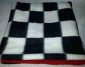 "8"" Seamless Pouch Black/White Checkers on Red Fleece for Hedgehogs, Sugar Gliders or Rats"