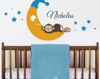 Crescent, Starts, Sweet Dreams Monkey and Personalized Name Decal  - Nursery Kids Removable Wall Vinyl Decal