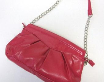 Dusty Rose Pink Purse Handbag Shoulderbag Glossy Shiny Snakeskin Reptile Print