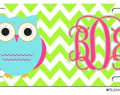 Personalized Chevron Stripe Owl Lime Aqua Magenta License plate car Tag Name circle Monogram