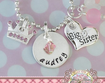 Big Sister HAND STAMPED CHARM Necklace, Personalized Name,Pink Crown Jewelry, Metal Stamped, Charm Necklace, Big Sister Gift, New sister