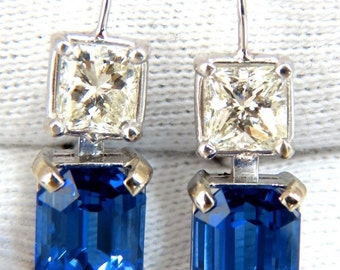 11.60CT Natural Brilliant Emerald Cut Tanzanite Diamond Earrings