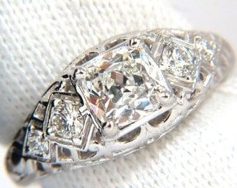 GIA 1.32ct. Cushion Brilliant diamond ring G/ Si-1 Vintage Class Deco 14kt