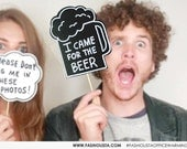 ONE Photobooth Props - Wedding Party Signs I Came For The BEER - 1 black  sign