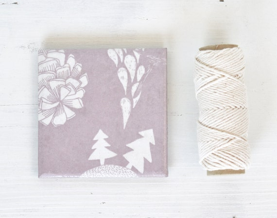 Coasters Winter Wonderland Dusty Lavender Pastel Purple Plum Winter Trees Christmas Gift, set of 4