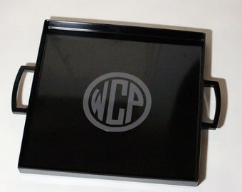 Monogrammed Melamine Tray with Handles - Personalized Tray - Monogrammed Gift