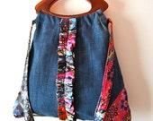 Unique handmade fabric bag purse, Geometric denim bag, Upcycled bag purse, OOAK