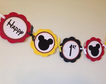 Mickey Inspired Word Birthday Banner