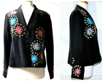 Carole Little daisy flower embroidered silk black jacket / retro designer 1980s fashion / dressy hippie floral boho style