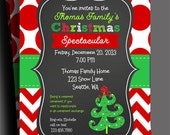 Christmas Invitation Printable or Printed with FREE SHIPPING - Red Polka Dot Chevron - Funky Tree Collection
