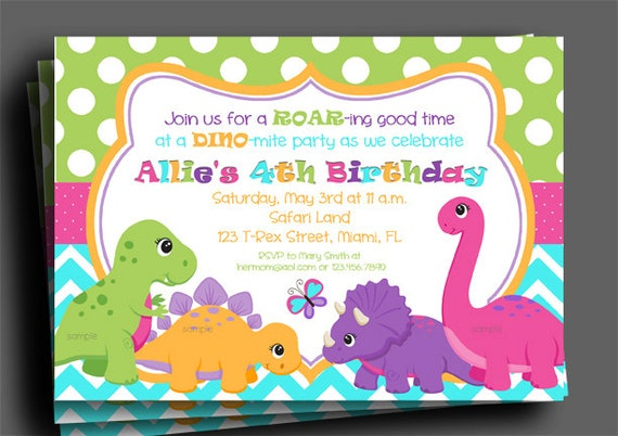 Dinosaur invitation for girls printable or printed with free il570xn filmwisefo
