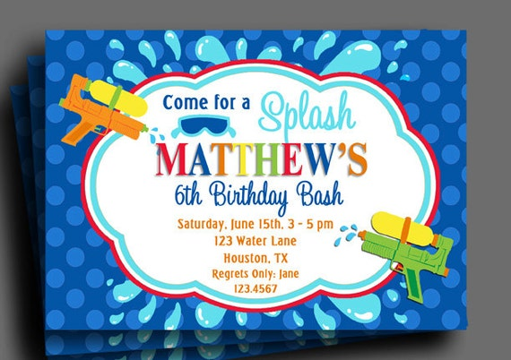 splash watergun invitation printable pool party water, party invitations