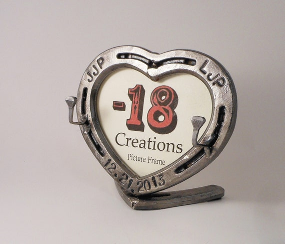 Wedding Ring Holder Horseshoe Heart Picture Frame Free Shipping USA 6th Or 11th Anniv Gift Iron Steel Anniversary