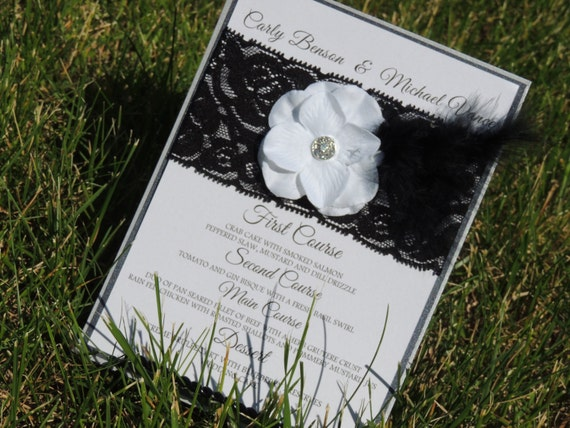 Black and Silver Lace Flower Feather Table Menu