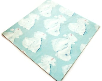 Vintage Wrapping Paper - Bridal Blue Wedding Gift Wrap - One Sheet