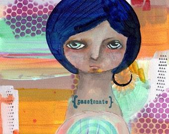 Leelah, the Passionate - Original Nixie patchwork mixed media painting