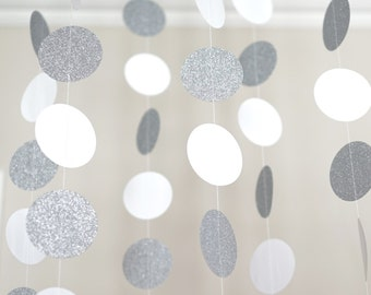 White and Silver Glitter Circle Garland, Photo Prop, Party Decoration, Event Decor