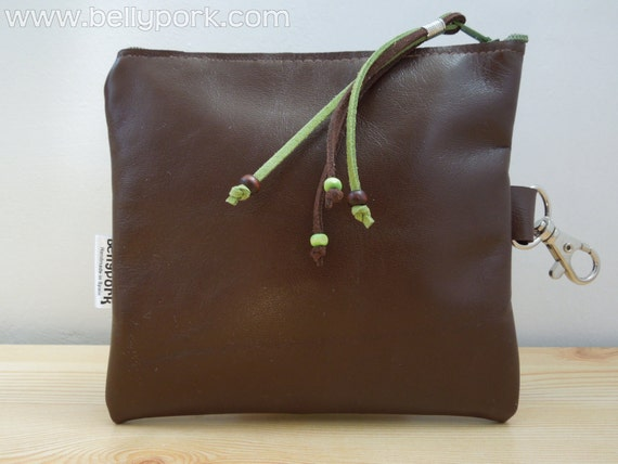 Leather pouch brown pouch. Leather bag, brown leather purse, soft leather, zippered pouch, zippered bag.