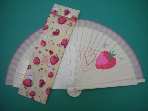 Cream Strawberry Hand Fan