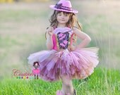 Fabulous diva cowgirl tutu dress in pink and brown