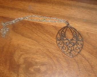 vintage necklace silvetone open  work pendant
