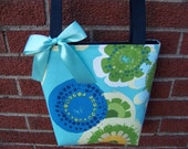 Floral Purse in Turquoise, Blue, Green, Yellow and White, Small Tote, Small Purse, Handbag, Bible Bag, Little Girls Purse