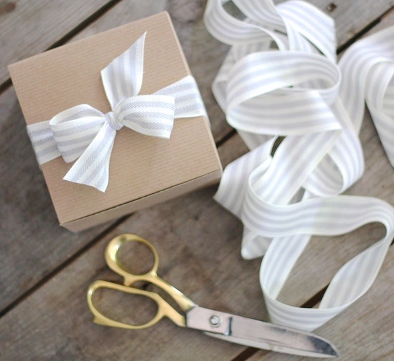 Gift Wrapping Organic Cotton Striped Ribbon ADD to our Spa Gift Set for a prettier present Grey & white stripe ticking or blue black