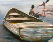 "Beach with boat original oil painting square boat painting Playing at la Playa""  20""x20"""