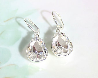 Crystal Rhinestone Earrings Small Diamond Cut Ice Crystal Dangle Earrings April Birthstone Winter Wedding Jewelry Bridesmaid Earrings