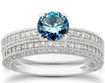 1.75CT Blue Diamond Vintage Engagement Ring Wedding Band Set 14K White Gold Size 4-9