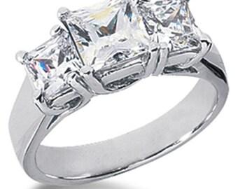 Diamond 1.50CT Three Stone  Ring 14K White Gold