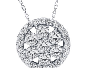 """1.20 cttw Diamond Halo Pendant 14K White Gold 18"""" 14K Chain is included"""