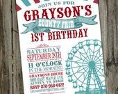 County Fair Carnival Vintage Printable Birthday Party Invitation