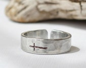 Sterling Sideways Cross Ring- Hammered Silver Band Ring