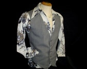 "70s 44"" L Wool Blend Mens Gray Vest Waistcoat"