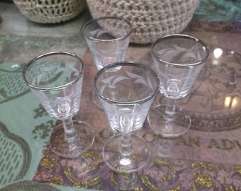 Silver Rimmed Demitasse Liquor Stem Wear Glasses Set Of Four