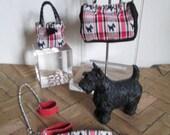 1:6 scale 'Scottish Lassies' fashion doll Purse Tote Scottish Terrier & Dog accessories SET