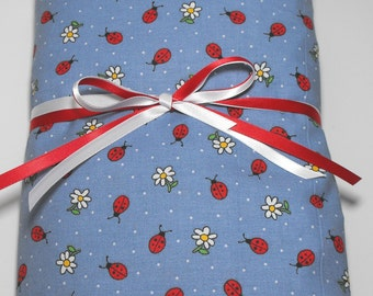 Crib or Toddler Bed Fitted Sheet Ladybugs and Daisies on Blue