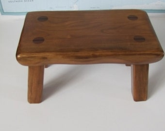 handmade rustic wood footstool solid Cherry step stool made to order