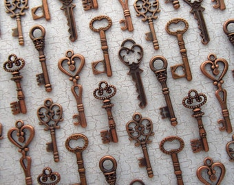 The Aberdeen Collection - Skeleton Key Charm Assortment in COPPER - Set of 72 Keys