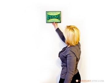 Wall Decor - Handmade and Handpainted - Mysterious Green shades Original Artwork - Contemporary Interior Element