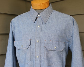 vintage 1980's -Big Ben- long sleeve work shirt. 'New Old Stock' Western cut - Blue chambray - All Cotton. Extra Large