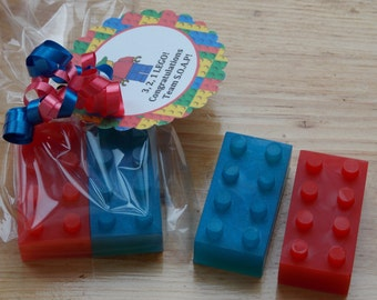 10 BUILDING BLOCKS Soap Favors {With Tags & Curly Ribbons} - Building Blocks Birthday, Building Blocks Baby Shower, Building Blocks Party