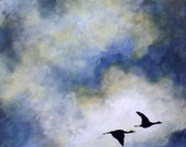 Pair of Geese Nature Romantic Couple Flying Geese Dark Blue Sky Love Wall Art Home Decor