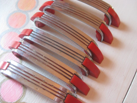 Lot Of 6 Vintage Art Deco Chrome And Red Drawer Pulls