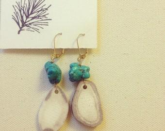 Deer Antler and Turquoise Earrings