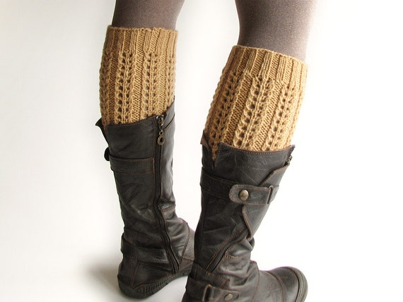 Hand Knitted Openwork Boot Cuffs - Boot Toppers, Leg Warmers